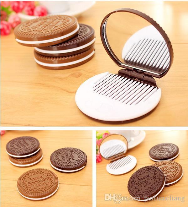 Mini Lindo Cocoa Cookies Espejo de Bolsillo Espejo Portátil de Chocolate Sandwich Biscuit Maquillaje Espejo Herramientas de Maquillaje de Plástico Cara Espejo Compacto DHL