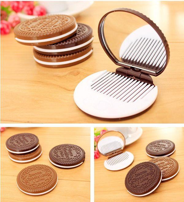 Mini Niedliche Kakao-Kekse Spiegeltasche Tragbare Spiegel-Schokoladen-Sandwich-Keks-Make-up-Spiegel-Kunststoff-Makeup-Werkzeuge Gesicht Kompaktspiegel DHL