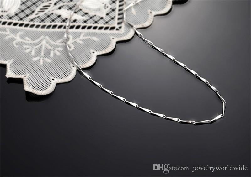 Seeds Genuine S925 Sterling Silver Necklace Chain Platinum Plated Fashion Women Jewelry 16 18 inch ST-N003