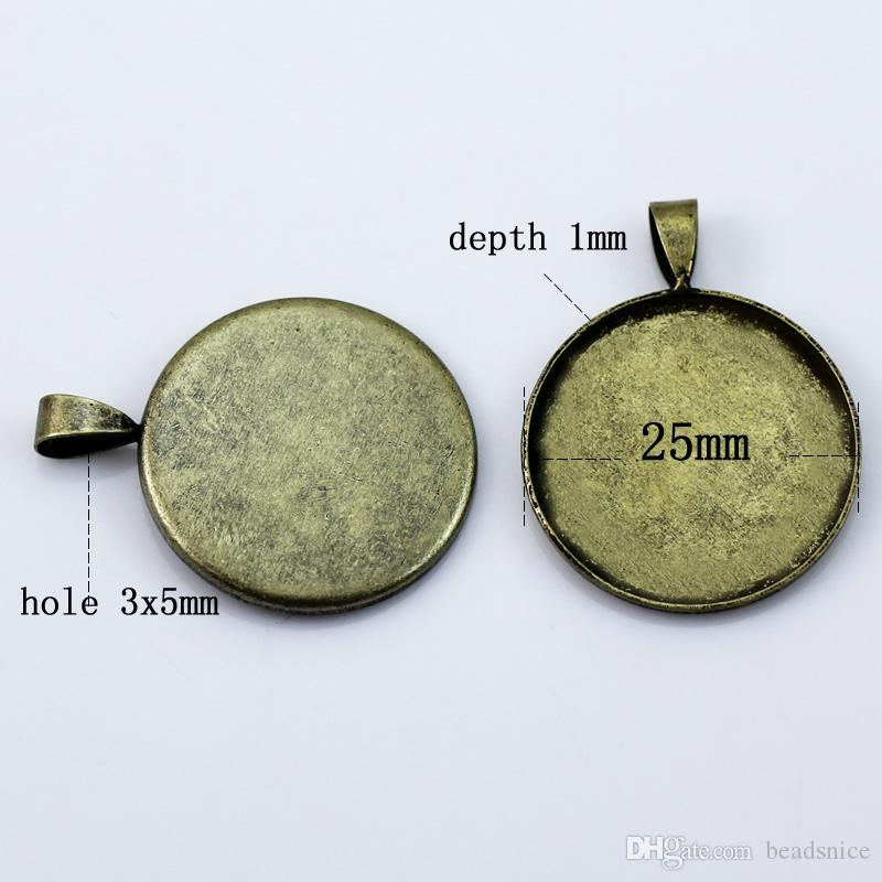 BeadSnice Hanger Base Lege Bezel Cabochon-instelling voor uw sieraden maken Past Fits 25mm Ronde Cabochon Gat 3x5mm ID10820