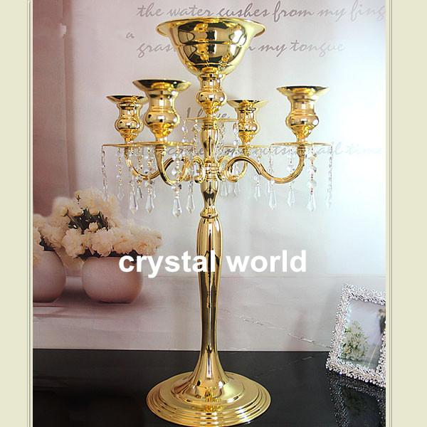 Hotsale arm mental silver candelabra with flower