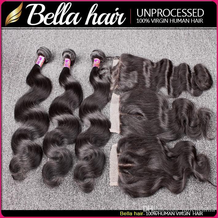 Bella Hair® 8A Feixes de Cabelo Brasileiro com Fecho 8-30 DoubleWeft Cabelo Humano Extensões de Cabelo Tece Encerramento Onda Do Corpo Ondulado Julienchina