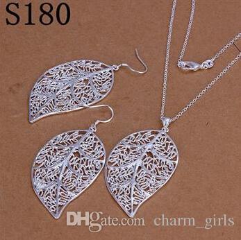 Mix 12 Style Mode Kvinnors Charmiga Silver Smycken 925 Silver Örhängen Halsband Smycken Set