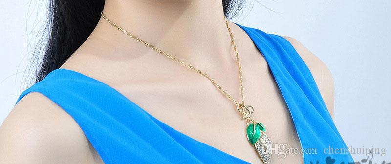 European New Fashion Vintage Gold Love come back Leaf Leaves Pendant Necklace Chain Charm Jewelry Women