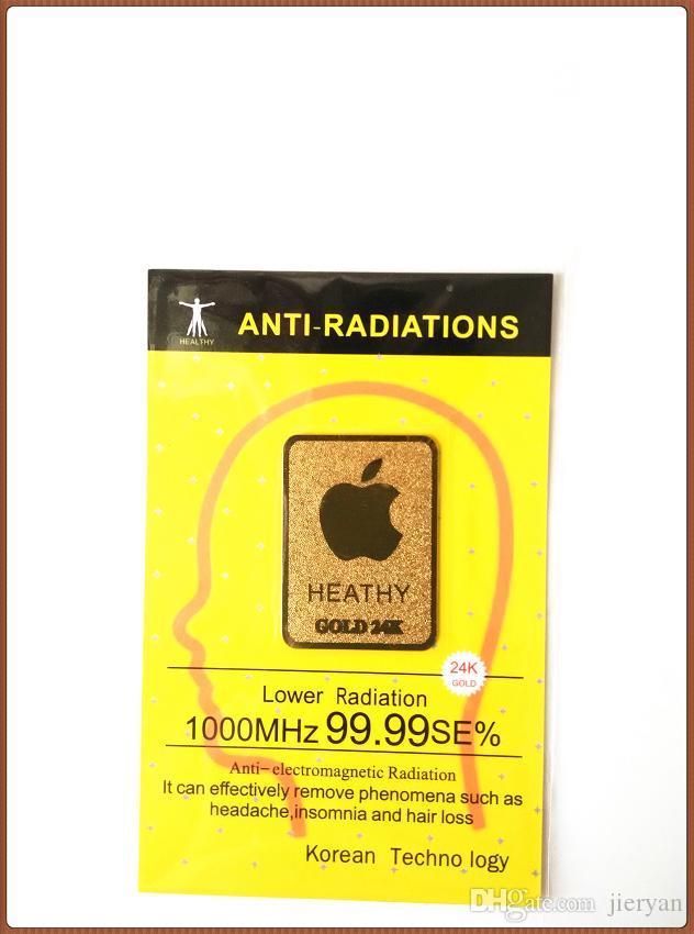 Wholesale 2016 very hot 24K gold mobile phone anti radiation sticker Bio negative ion Scalar Energy stickr/bag