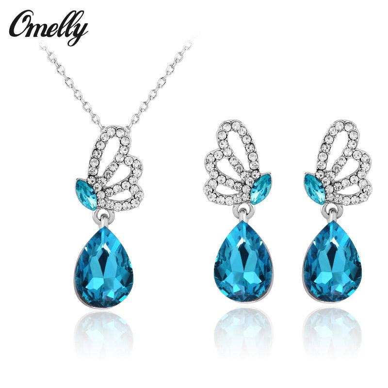 2017 Bridal Jewelry Sets Rhinestones Silver Blue Crystal Butterfly