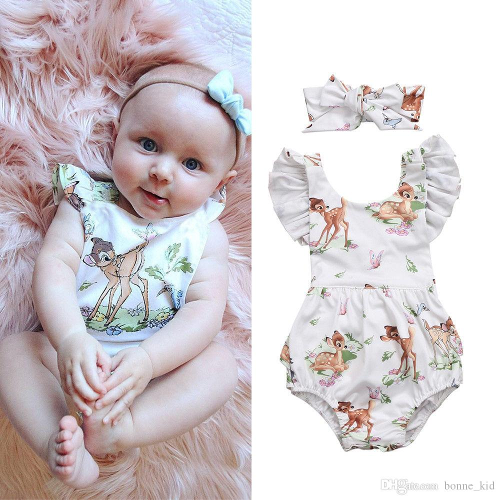 7b93b22e6c51 2019 Newborn Baby Girl Toddler Flower Romper Deer Jumpsuit Headband Outfit  Kid Clothing Girls Lovely Floral Animal Bodysuit Sunsuit 0 24M From  Bonne kid