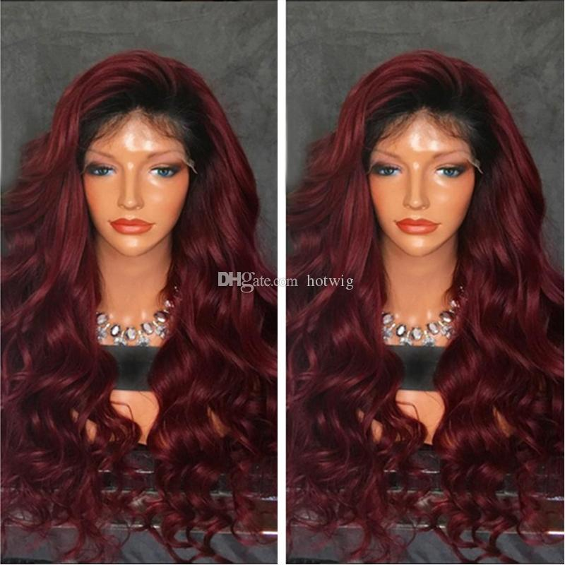 #1b 99j Burgundy Body Wavy Ombre Lace Front Human Hair Wigs Full Lace Human Hair Wigs For Black Women