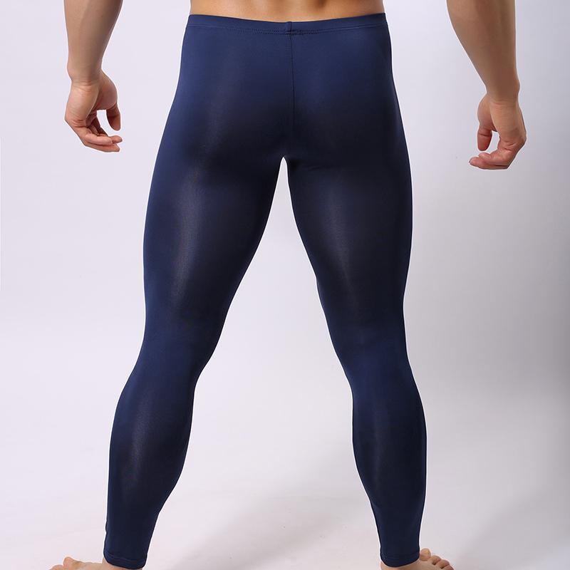 Sous-vêtements sexy hommes ultra mince jambe longue pantalon homme Slim Fit en nylon solide doux U poche convexe taille basse sous-vêtements respirant K012-4