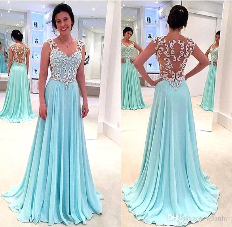 Hot Sale 2017 Mint A Line Prom Dresses Queen Anne Illusion Back Long ...