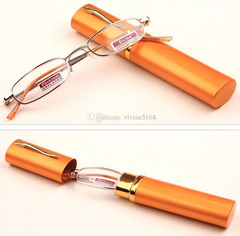 펜 컨테이너 스타일 초경량 노인 휴대용 독서 안경 패션 디자인 안경 용기와 함께 배송 패션 노안경 glasse