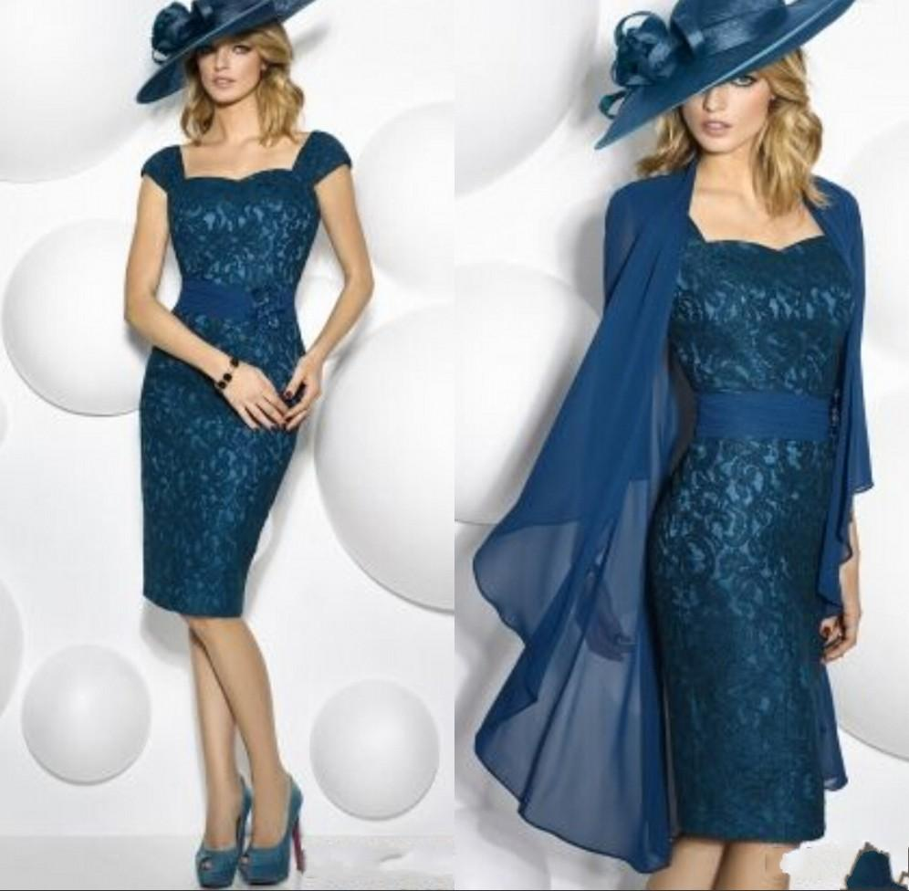 947e26b00eccb Navy Blue Lace Knee Length 2016 Mother Of The Bride Dresses With Long  Sleeves Coat Plus size formal evening gowns Groom Mother dresses