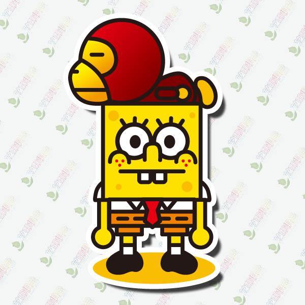 Monkey  Spongebob Graffiti Car Styling Doodle Sticker Laptop - Spongebob car decals