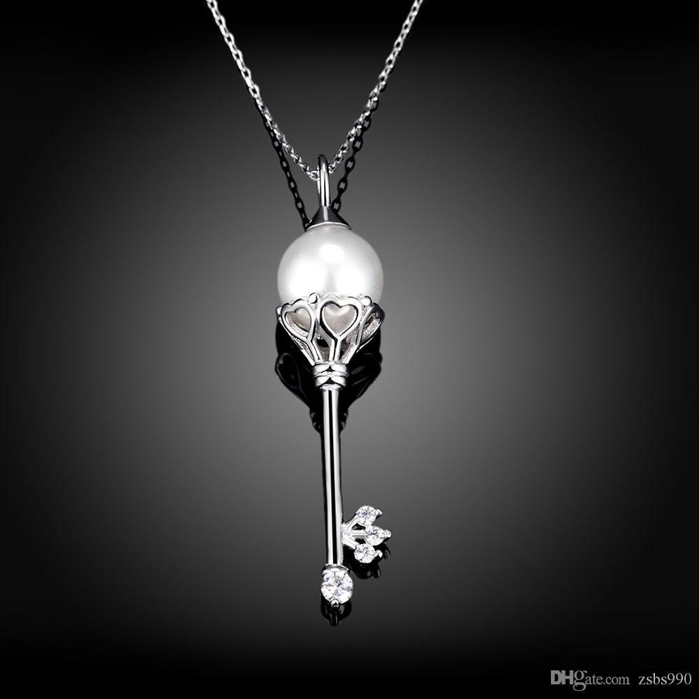 En gros 100% Réel 925 bijoux en argent sterling perle zircon clé pendentif collier Beau cadeau de mariage pour les femmes livraison gratuite