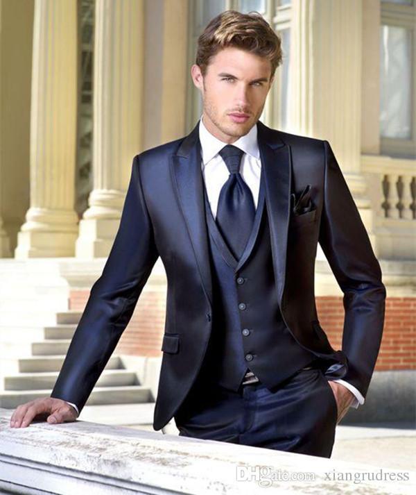 Dark Navy Wedding Tuxedos Slim Fit Suits For Men Three Pieces Jacket+Vest+Pants Groom Men Suit Custom Made