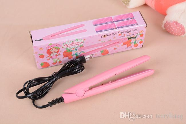 Mini Pink Ceramic Electronic hair straighteners Iron 220-240V Straightening corrugated Iron styling tools fringe hair straightener