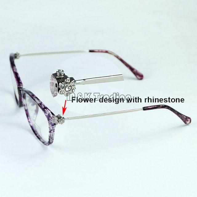 f69adb58781 2017 New Fashion Optical Frame Rhinestones Flower On Slim Metal Temples  Women Eyeglasses Frame Very Light Round Eyeglass Frames Wire Frame Glasses  From ...