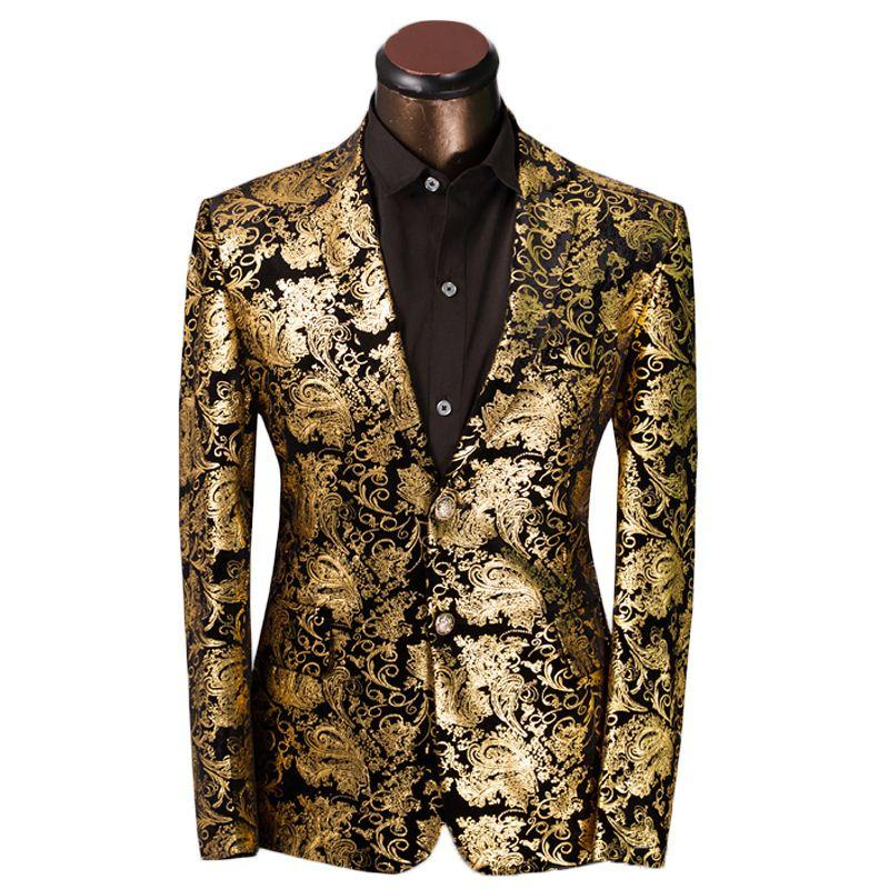 60 Luxury Men Suit Golden Floral Pattern Suit Jacket Men Fit Prom Amazing Blazer Pattern