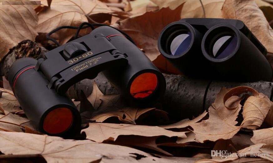 Jumelles haute puissance Sakura HD 30x60, jumelles à membrane bleue et rouge, jumelles de vision nocturne, poche de transport pliable