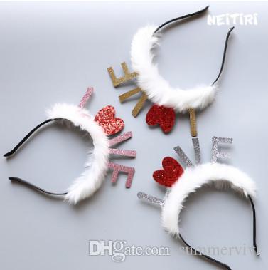 Children Glitter Felt Sequins Love Letter Christmas Headwear Infant ...