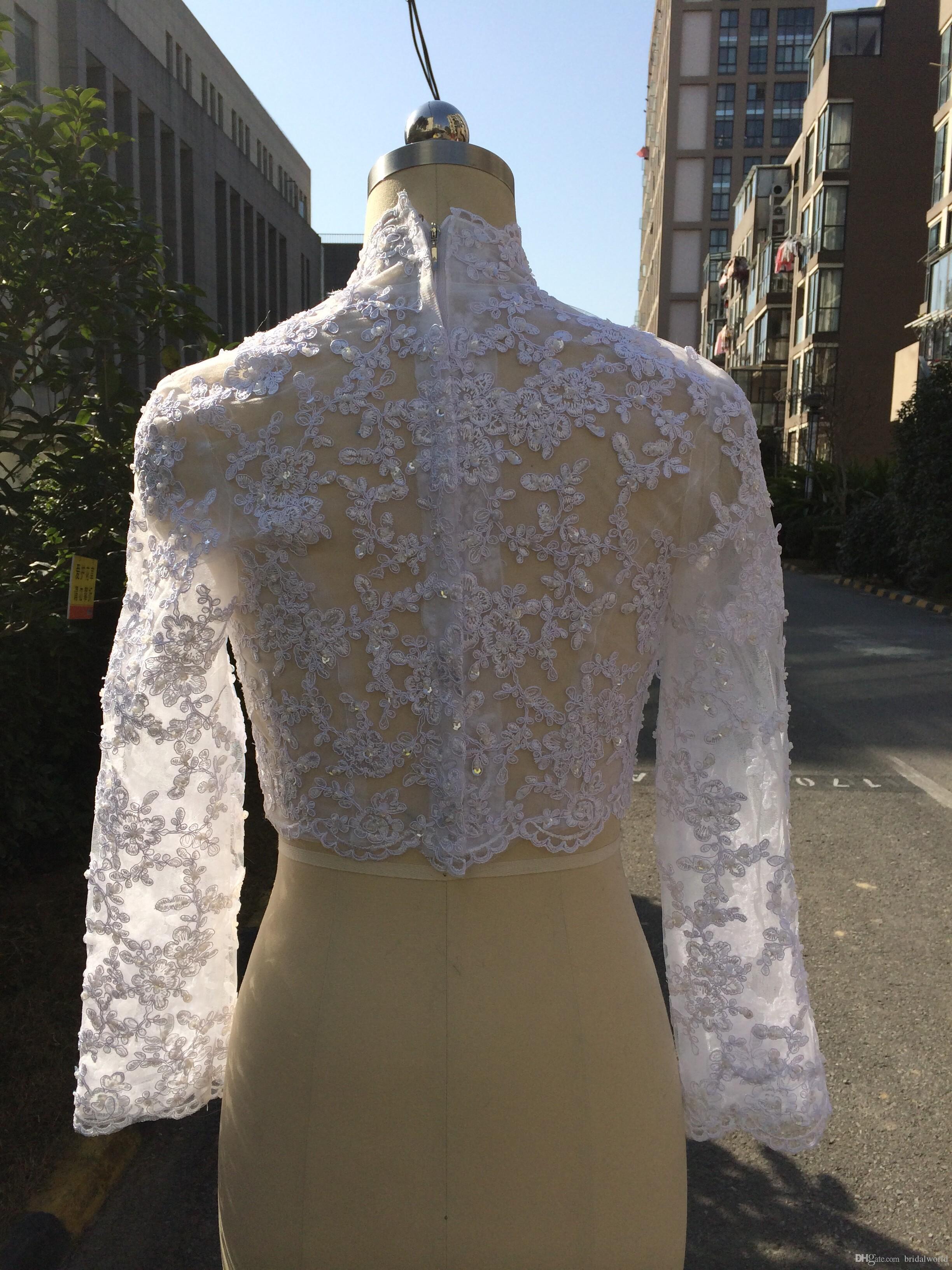 Muslim Bridal Lace Boleros Jackets High Neck Ivory White Wedding Bolero Long Sleeve Lace Beaded Bridal Jacket Shrug 2018 Elegant