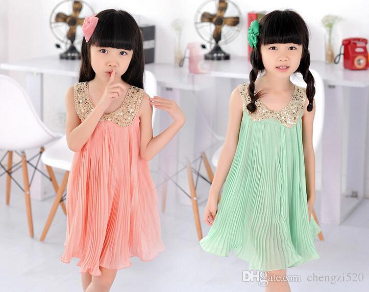 الفتيات بلا أكمام مطرزة فستان سوينغ كبير مطوي فستان من الشيفون الوردي الأخضر