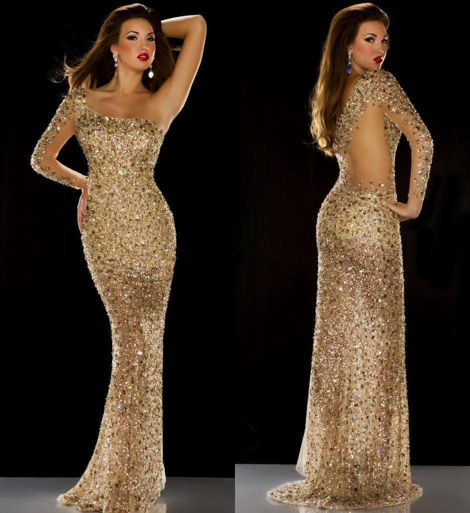 Long Sleeve Mermaid Prom Dresses One Shoulder 2015 Saudi Arabic Style Gold Sequins Rhinestones Beaded Gorgeous Evening Pageant Gowns