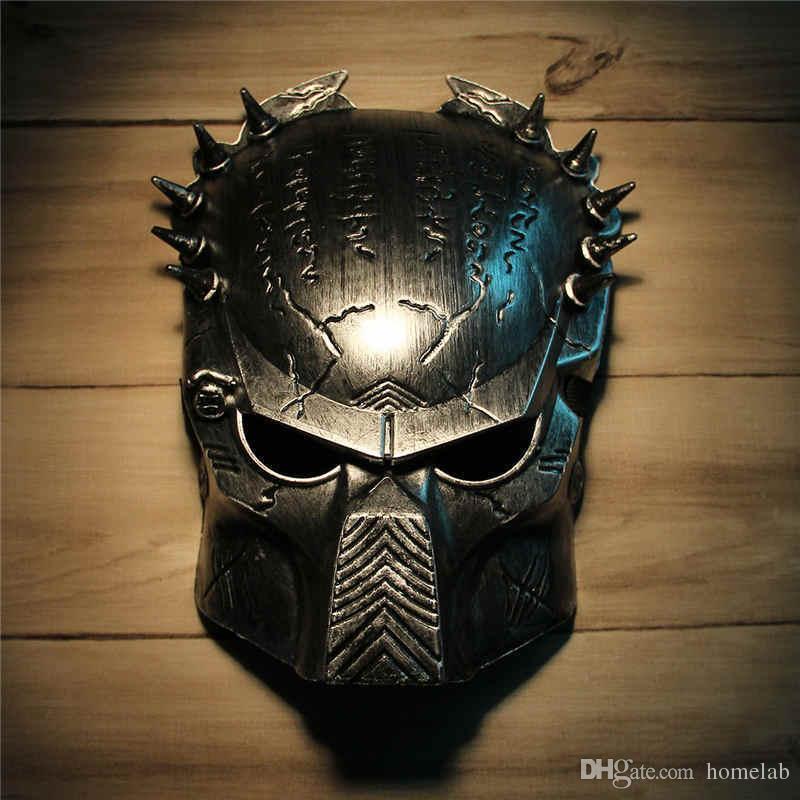 cool predator masquerade masks halloween props silver full face mardi gras film cosplay mens mask for festive gift masquerade party supplies mask masquerade