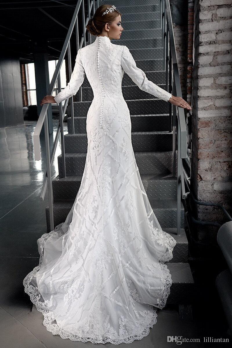 Mariage vintage modeste dentelle robes à manches longues Tradional robe de mariage chrétien catholique musulman arabe Dubaï Bridal réel image Appliques
