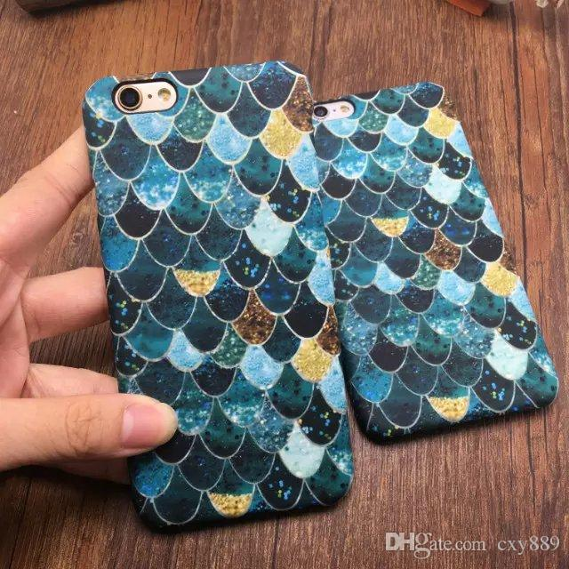 Ultra Thin blue Fashion For Apple iphone 5 5s 6 6s plus Noctilucent Style Painted Fish Squama Wave Protective case