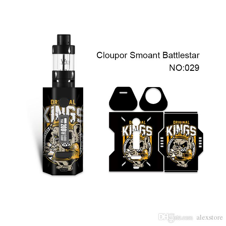 Smoant Battlestar Skin Printing Wraps Sticker Cases Cover for Cloupor Battlestar 200W TC Box Mod Protective Film Stickers 30 Pattern DHL