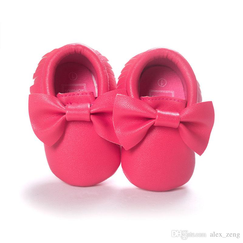 New Baby First Walker Shoes moccs Baby moccasins soft sole moccasin leather Colorful Bow Tassel booties toddlers shoes