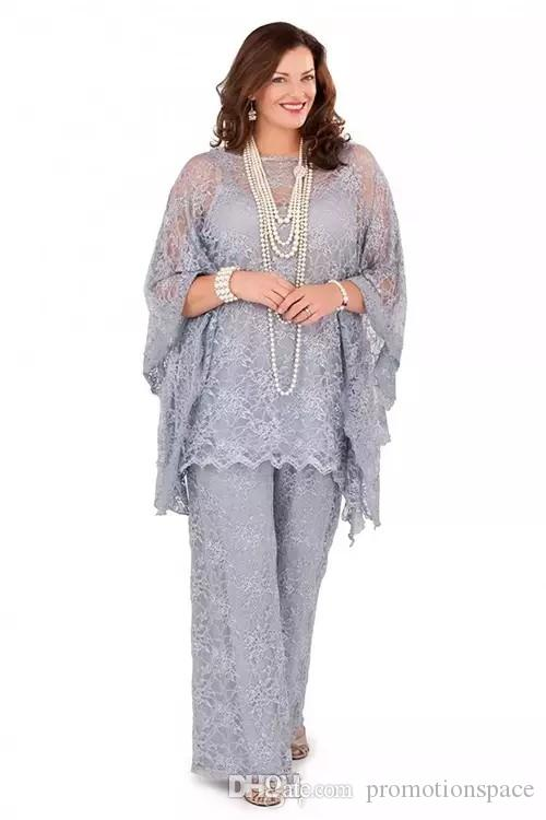 2019 Nuevo encaje Madre de la novia Trajes de pantalón Tallas grandes Mangas largas Mujeres de plata Vestidos formales Tres piezas Vestidos de madre para boda