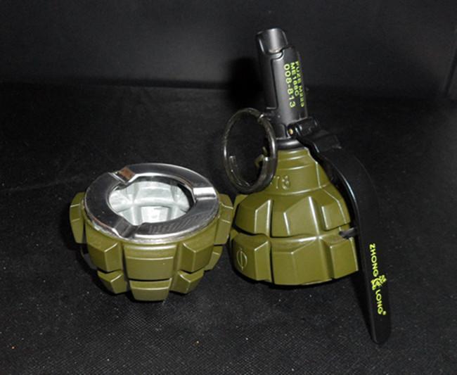 DUMMY 2 in 1 Soviet F1 Hand Grenade shape Ashtray Windproof lighter Dark  green