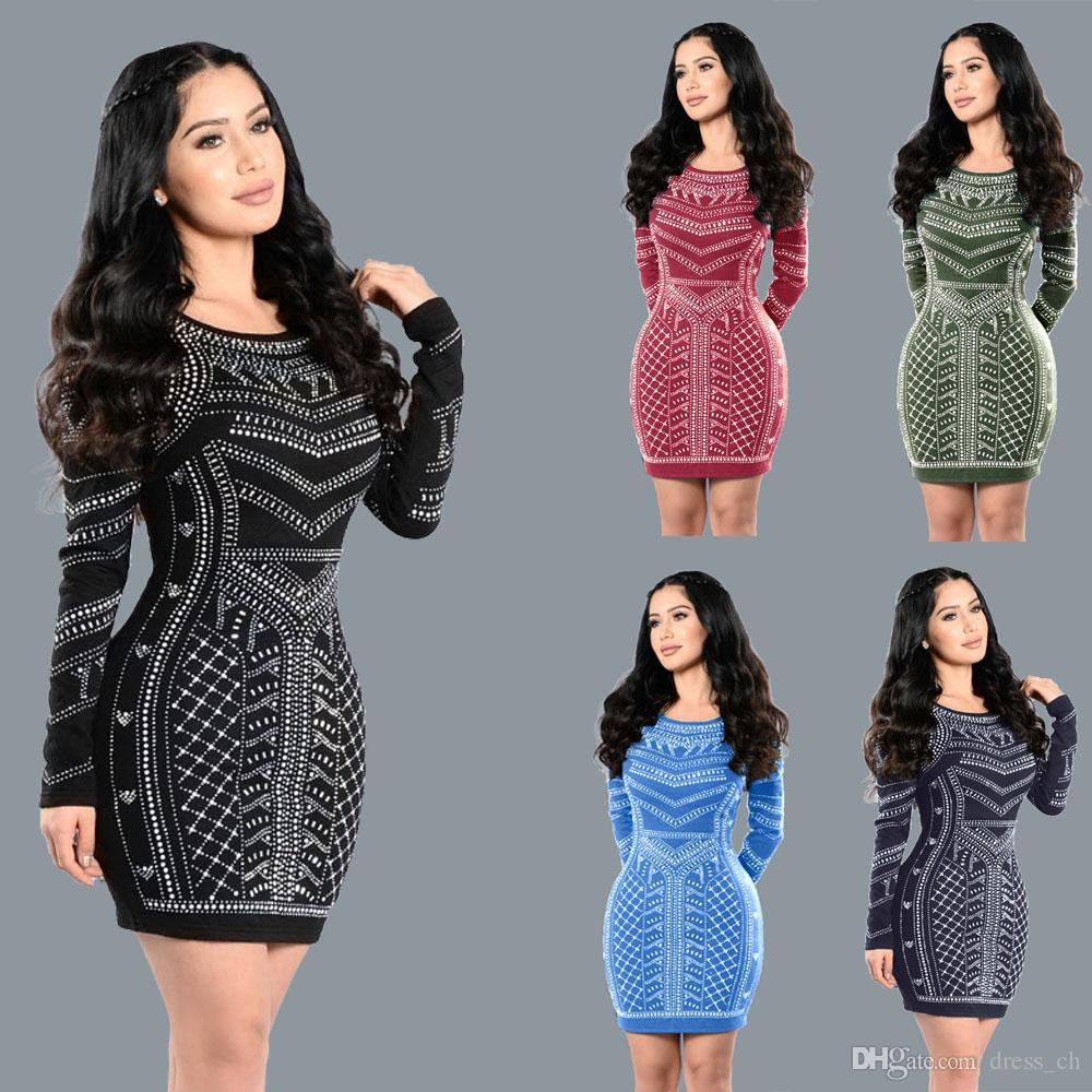 Women Sexy Tight Long Sleeve Party Cocktail Short Mini Dress Bodycon ...