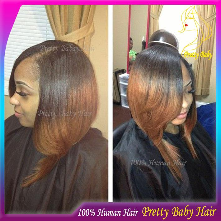 Virgin Peruvian Silky Straight Bob U Part Wig Ombre Two Tone Color 1
