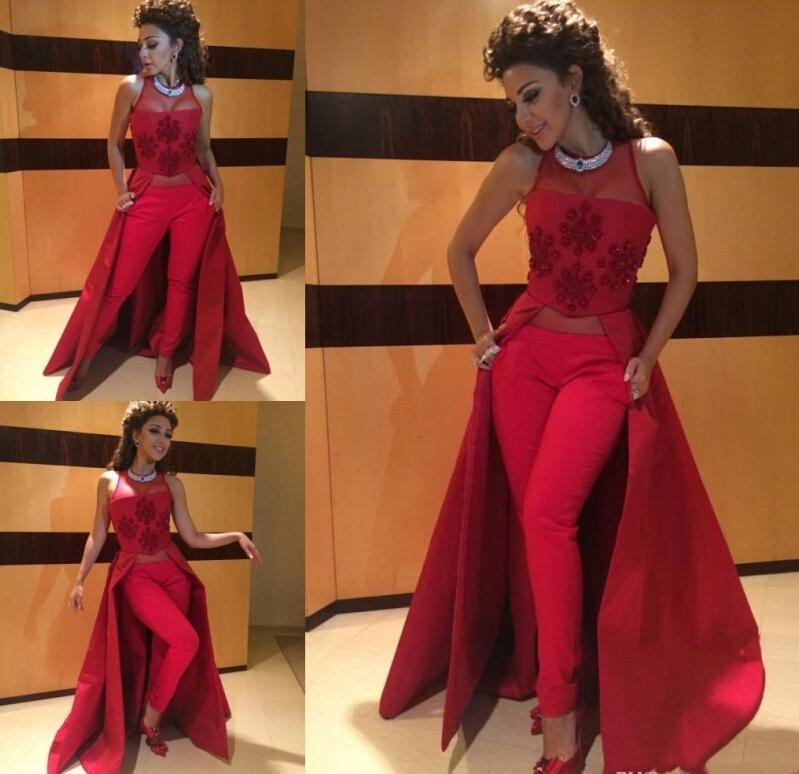 2016 Myriam Fares Dresses Red Formal Gowns Illusion Neckline