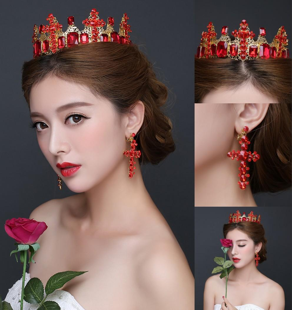 Luxury European Arabic Cheap Wedding Tiaras Crowns 2016 Princess Red Crystal Jewelry Sets Earrings For Quinceanera Formal Party Occasions Bridal Jewellery