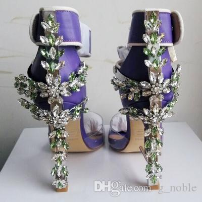 Luxury Rhinestone Spiked Chunky Heel Sandals Hollywood Fashion Lock Buckle Peep Toe High Heel Sandals Summer Shoes Women