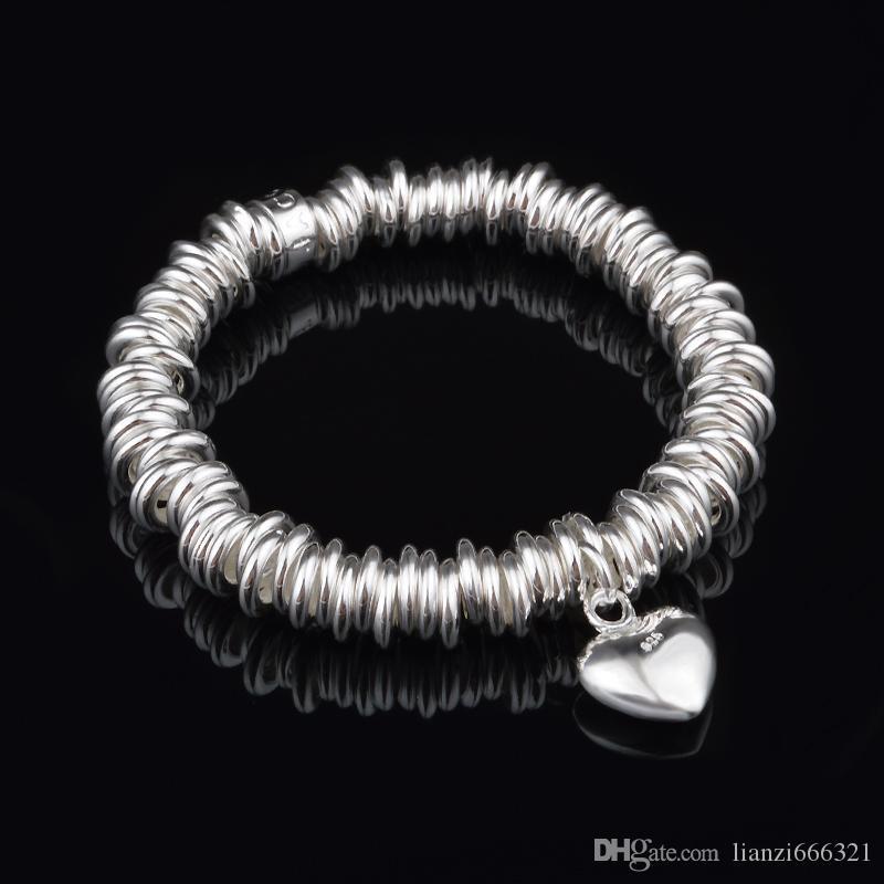 Envío libre con número de seguimiento de la venta superior del anillo de plata 925 pulsera denso con el corazón pulsera de plata de la joyería / barato 1804