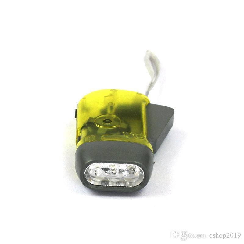 2016 new Hot Hand-pressing Flashlight No battery 3 LED Dynamo crank wind Generator Flash Light