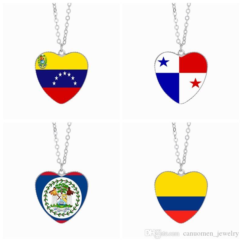f22ab077ad Compre Bandera De Venezuela Collares Pendientes 25mm Corazón Cabochon De  Cristal Panamá Belice Colombia Sudamérica Banderas Mujeres Joyería Al Por  Mayor A ...