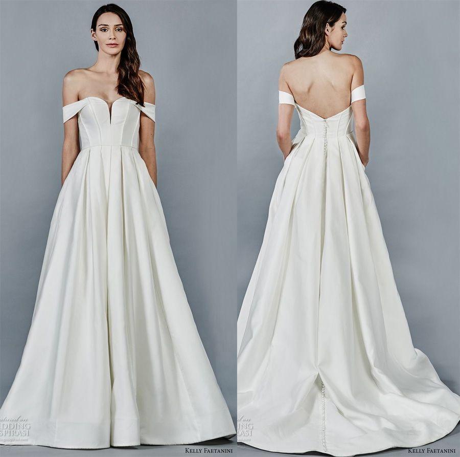 Simple Clean a Line Wedding Dresses 2018 Kelly Faetanini Bridal Off ...