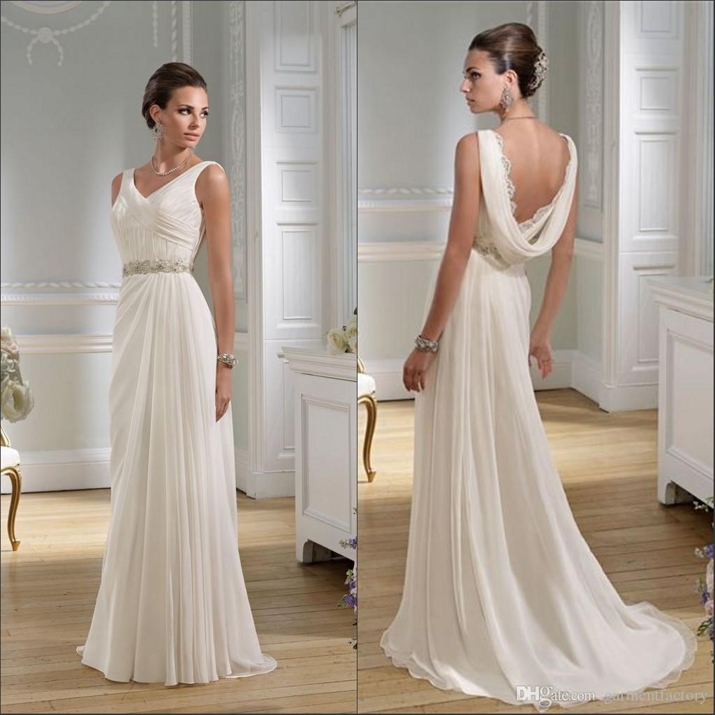 Simple Elegant 2015 Women Summer Wedding Dresses Flowing: Discount Elegant Greek Wedding Dresses 2015 Summer Beach V