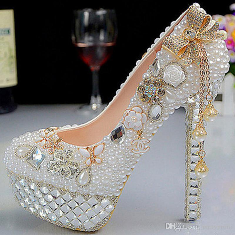 0058fda4dbac New Fashion Crystal Pearl Wedding Shoes Ultra High Heels Platform ...