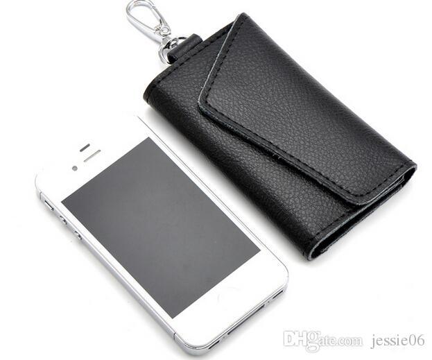 Luxus Leder Schlüssel Karte Geldbörsen Taschen Männer Frauen Portable Edelstahl Schlüsselanhänger Keys Haken Tasche Auto Schlüsselhalter Schlüsselring ändern Beutel
