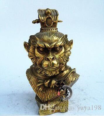 Cinese Pure Bronze Taoism Myth Monkey Monkeys Sun Wukong Dio testa statua