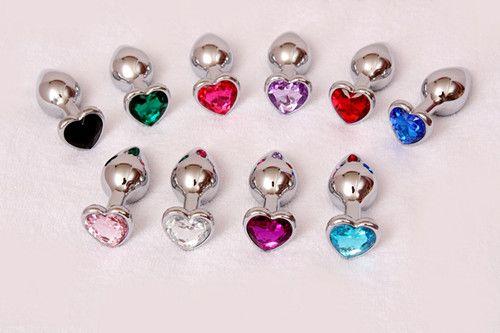 Форма сердца металл анальный плагин попки / попой бусины из нержавеющей стали Кристалл ювелирные изделия секс-игрушки для женщин 80 * 30*33 мм бесплатно DHL
