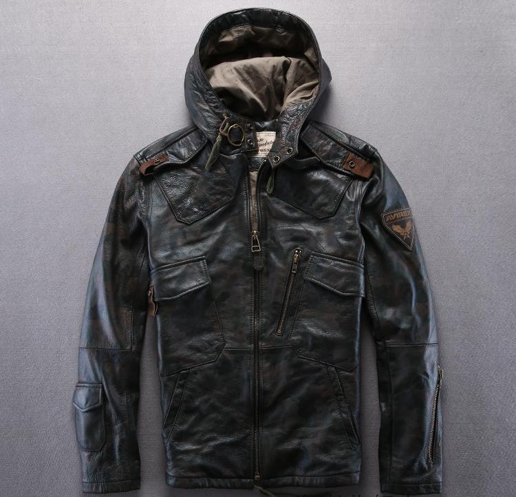 Giubbotto in pelle AVIREXFLY mimetico con giacche da moto con cappuccio 100% vera pelle Giacca slim fit