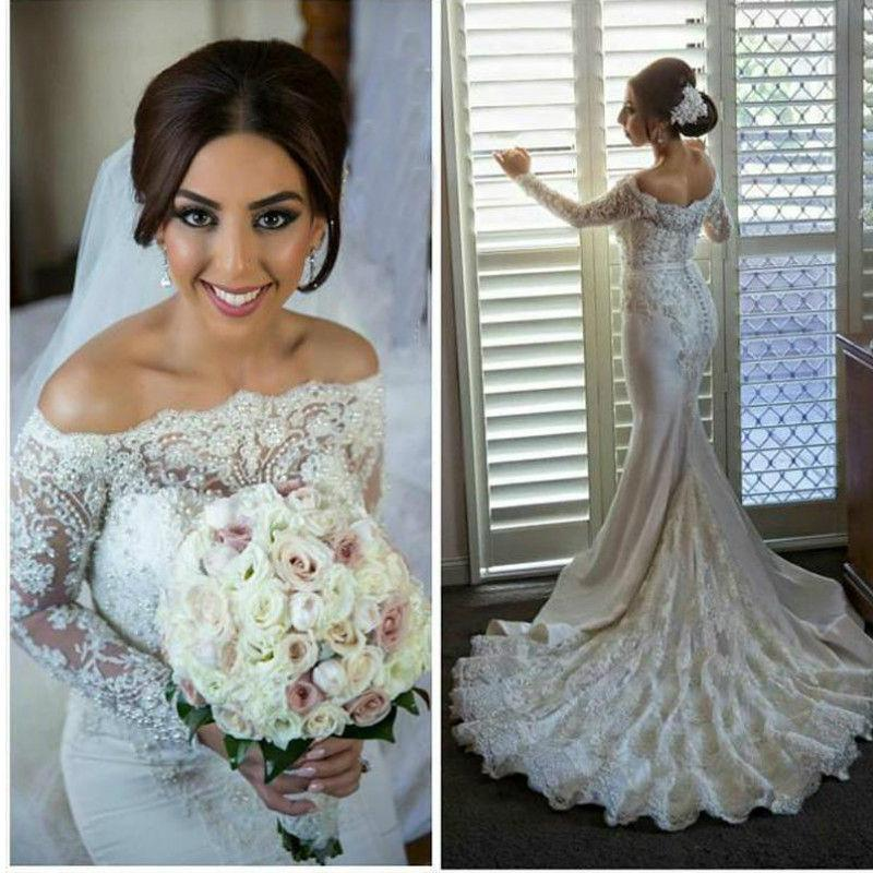 Sexy 2016 Mermaid Long Sleeves Wedding Dress Robe De